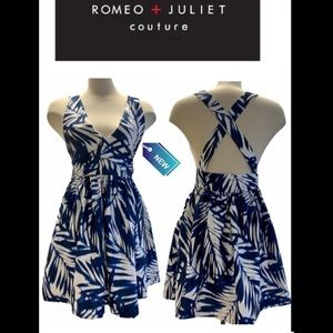 Romeo + Juliet Couture Blue & white dress NWT